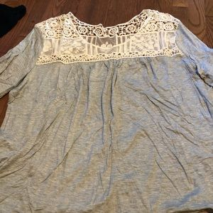 Maurice's gray top with lace and button detailing